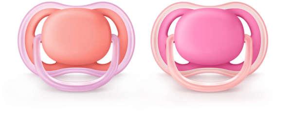 Avent Залъгалки Ultra Soft + стерилизаторна кутия (0-6 м.) момиче